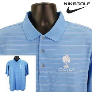NIKE Golf Men's L Large Blue Stripe Polo Shirt